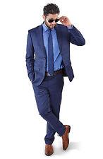 Slim Fit 2 Button Vest Optional Peak lapel Windowpane Plaid Suit Azar Blue 1698