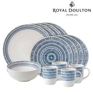Royal Doulton ED Ellen DeGeneres 16pc Chevron Dark Blue Dinner Set of 16