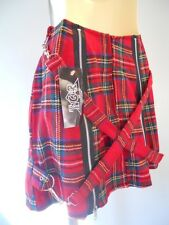 Nos Rare Tiger Of London Red Wool Plaid Mini Skirt Punk Straps Made in England S