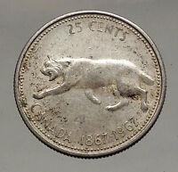 1967 CANADA Confederation Centennial Silver 25 Cents Coin LYNX Wild Cat i56965