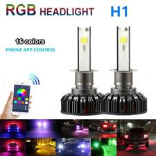 2x H1 72W Car LED RGB Headlight Phone APP Control Bulb Drive Fog Lamp Module