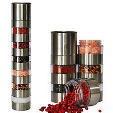 6 Jar Salt Pepper & Spice Grinder Mill Set With Ceramic Grinder Stainless Steel