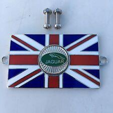 JAGUAR Union Jack GB Brass Enamel Classic Car Badge - Bolt On
