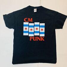 CM Punk T Shirt Size Large Black Flag Logo Wrestling