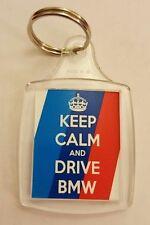 """Keep Calm and Drive BMW"" Car Keyring Birthday Gift"