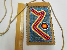 NATIVE AMERICAN BEADED MOOSE HIDE PURSE - 8 INCHES X 5 INCHES