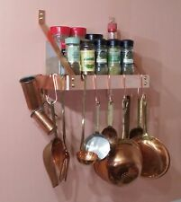Spice or Pot or Utensil rack 12 W x 6.25 D x 9.75 H Wall Mounted SOLID COPPER