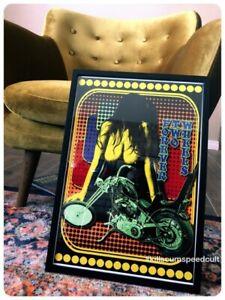 FOREVER TWO WHEELS Harley Davidson Panhead Chopper mancave bar poster vintage