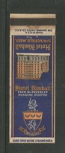 HOTEL KIMBALL – SPRINGFIELD, MASSACHUSETTS - VINTAGE 1940's MATCHCOVER