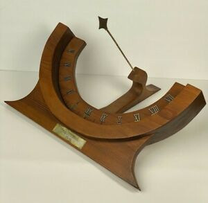 Mid Century Modern Wood Walnut Sundial Equatorial Dial