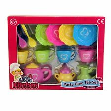 Childrens Kids Tea Party Time Playset Teapot Cups Plates Play Set Toy NEW