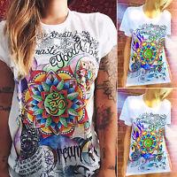 Gotisch Blumen Damen T-Shirt Lose Kurzarmshirt Sommer Tunika Oberteil Bluse Tops