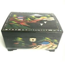 Vintage Japanese Themed Lacquered Wooden Jewellery Music Box - Mother of Pearl