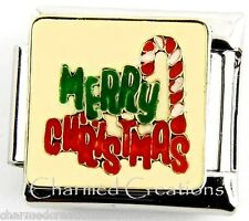 Merry Christmas Candy Cane  9mm Italian Charm Stainless Steel Modular Link