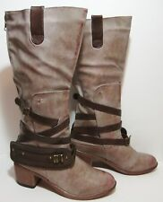 Steampunk Taupe Strapped Boots Womens 8