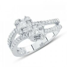 Diamond Cocktail Right Hand Ring 18K White Gold Baguette Princess Round