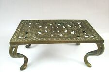 VINTAGE PIERCED BRASS POT TRIVET KETTLE STOVE HEARTH FOOTED STAND