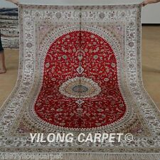 Yilong 6'x9 Persian Silk Area Rug Hand Knotted Carpet Kitchen Handmade Sale 1204