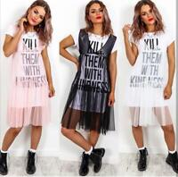 Ladies 'Kill Them With Kindness' Slogan Sheer Mesh Tulle Overlay T-shirt Dress
