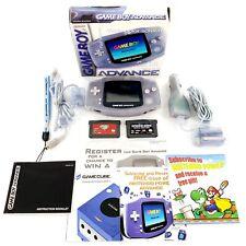 Nintendo Game Boy Advance Glacier Handheld System Bundle w/ 2 Games & Box Tested