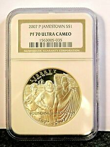 2007 Jamestown Silver Proof Dollar PF70 Ultra Cameo NGC