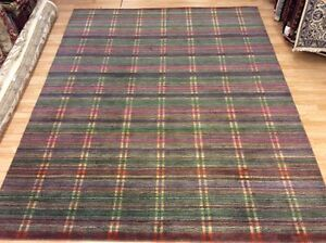 Modern Grey & Multi Colour Striped Handwoven Wool Rug XXL Large 244x305cm 60%OFF