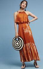 NEW Anthropologie Harare Rust Silk Bird Print Ruffle Halter Maxi Dress Sz XS