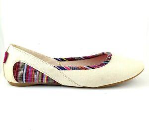 Mambo Women's Slip on Flat Canvas Shoes Cream Colour Size 6, EU 37 , 23 cm