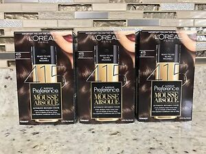 3 Pack L'Oreal Paris Superior Preference Mousse Absolue, 415 Icy Dark Brown