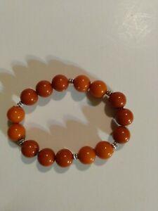 AMBER BRACELET Natural Baltic Amber Round Beads Ladies 7,3g A153