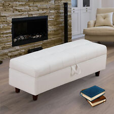 HOMCOM Ottoman Storage Bench Stool for Bed-end Hallway in PU Leather - White