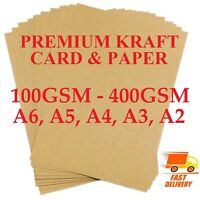 A2 A3 A4 A5 A6 100gsm -400gsm BROWN KRAFT CARD PRINTER PAPER BOARD SHEETS BLANKS