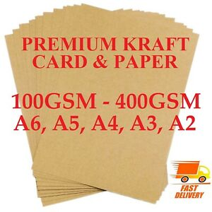 A2 A3 A4 A5 A6 100gsm -400gsm BROWN KRAFT CARD PRINTER PAPER BOARD SHEETS BLANKS