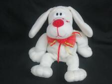 """VINTAGE COMMONWEALTH WHITE RED FLOPPY BEANBAG PUPPY DOG ROSE BOWTIED PLUSH 9"""""""