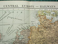 1919 LARGE MAP ~ CENTRAL EUROPE ~ RAILWAYS FRANCE GERMANY ITALY AUSTRIA HUNGARY