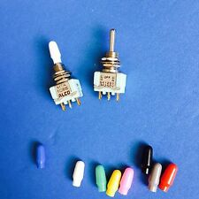 x10 Switch, Toggle, SPDT, On-Off-On, 6A Switch MTA106E) New. with (color) cap