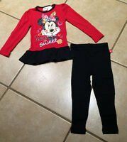 Disney Birthday Gift Minnie Mouse Love is Sweet Tunic & Blk Leggings SIZE 2T-4T