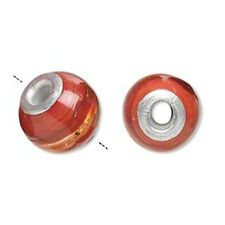 Red-Orange Silver-Foil Lampwork Glass 14mm Round Large 3.5mm Hole Charm Bead 2pc