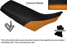 BLACK & ORANGE CUSTOM FITS YAMAHA TW 125 200 LEATHER DUAL SEAT COVER