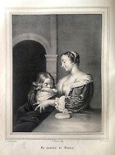 Naissance de Luther Théologien Lithographie origin. des hommes illustres 1838