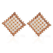 Amazing Gold & White Pearls Cluster Rhombus Studs Crystal Earrings E541