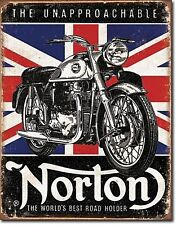 Norton Motorcycles British Flag Road Hold Metal Sign Tin New Vintage Style #1953