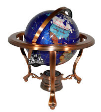 "10"" Tall Bahama Blue Pearl Swirl Ocean Tripod Copper Table Top Gemstone Globe"