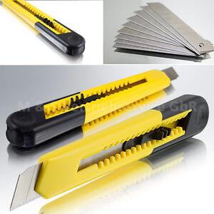 Profi Cuttermesser Gelb 18mm Kutter Teppich Messer Ersatz Abbrechklingen Set