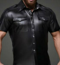 Leather /Latex Look Shirt / T-Shirt Short Sleeves Popper Front Collar Gay Stag