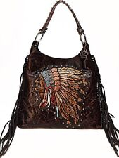 Raviani hand painted Indian Head Brown Embossed Crocodile Leather Bag W/Fringes