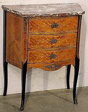 French antique marquetry bedside hallway chest Petit commode red marble bronze
