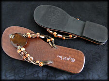 Womens Sandals Flip Flops Thongs Slides Faux Reptile w Bold Stones & Beads US 8