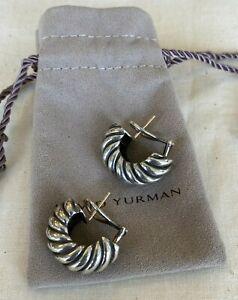 David Yurman Sterling Silver & 14KT Yellow Gold Earrings W/ Pouch