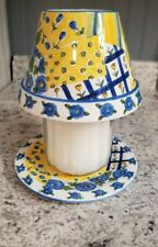 Yankee Candle Large Jar Shade & Plate Blue Yellow Floral Springtime